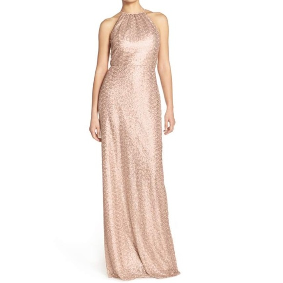 Amsale Dresses | Rose Gold Sequined Gown | Poshmark